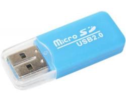 Картридер внешний Merlion CRD-1BL, M2/ microSD, Blue