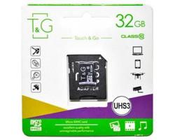 Карта памяти microSDHC, 32Gb, Class10 UHS-3, T&G, SD адаптер (TG-32GBSD10U3-01)