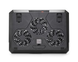 Подставка для ноутбука до 19″ Crown CMLS-150, Black, 3x110mm, 410x303x31mm , 15 режимов RGB-подсветки, сенсорная кнопка управления, регулятор скорости вращения вентиляторов