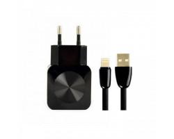 Сетевое зарядное устройство Aspor F13C, Carbon Series, Black, 2xUSB, 5V /  2.1A + кабель Type-C