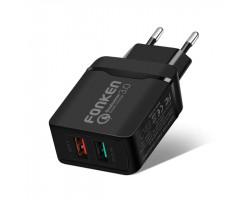 Сетевое зарядное устройство Fonken R26, Black, 2xUSB, Quick Charge 3.0, 3A + 2A