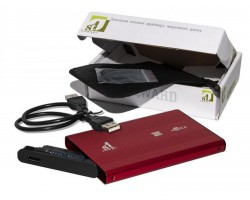 Карман HDD 2.5″ 1stCharger, Red, USB 2.0, 1xSATA HDD/ SSD, питание по USB (HDE1STU2520BR)