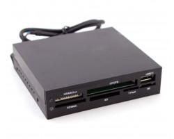 Картридер 3.5″ внутренний All in 1 + USB 2.0 port, черный пластик USB 2.0 (11953)