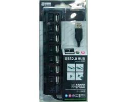 Концентратор USB ATcom TD1082, Black, 7xUSB, LED подсветка, switches (10721)