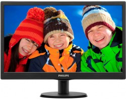 21.5″ Philips V-line 223V5LSB/ 00 Black, WLED, TN+film, 1920x1080, 5 мс, 250 кд/ м2,  1000::1, 170°/ 160°, DVI/ VGA