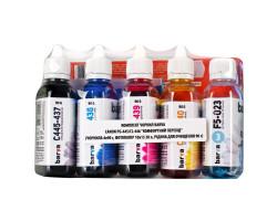 Комплект чернил Barva Canon PG-445 /  PG-46 + CL-446 /  CL-56, C/ M/ Y/ K, 4 x 90 г + чист. жидкость 90 г + фотобумага Barva A6 (10x15), 20 л, 230 г/ м2 (I-BAR-CPG445-CMP)