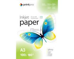 Фотобумага A3 180 г/ м, 100 шт PrintPro глянцевая, (PGE180100A3)