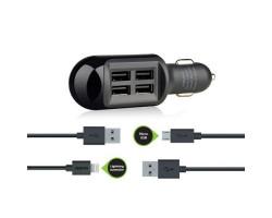 Автомобильное зарядное устройство Melkin, Black, 4 x USB, 2 x кабеля iPhone и microUSB (M8Z635)