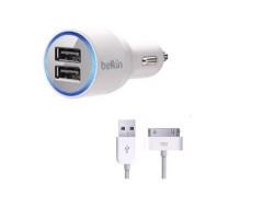 Автомобильное зарядное устройство Belkin, White, 2xUSB, 2.1A, кабель USB <-> iPhone4 (F8J070bt04)