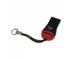 Картридер внешний Polybag Black/ Red  microSD USB 2.0 /  ОЕМ