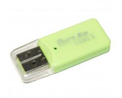 Картридер внешний Merlion CRD-1GR, M2/ microSD, Green