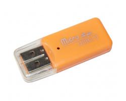 Картридер внешний Merlion CRD-1OR, M2/ microSD, Orange