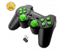 Геймпад Esperanza Gladiator GX600, Black/ Green, беспроводной (2.4GHz), USB, вибрация,PC/ PS3 (EG108G)