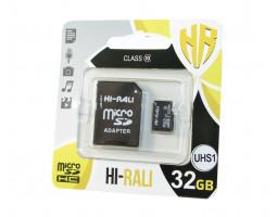 Карта памяти microSDHC, 32Gb, UHS-I, Hi-Rali, SD адаптер (HI-32GBSD10U1-01)