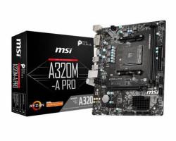 Мат.плата AM4 (A320) MSI A320M-A PRO, A320, 2xDDR4, Int.Video(CPU), 4xSATA3, 1xPCI-E 16x 3.0, 1xPCI-E 1x 2.0, ALC892, RTL8111H, 6xUSB3.2/ 6xUSB2.0, DVI-D/ HDMI, mATX