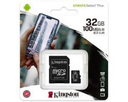 Карта памяти microSDHC, 32Gb, Class10 UHS-1 А1, Kingston Canvas Select Plus R-100MB/ s, SD адаптер (SDCS2/ 32GB)