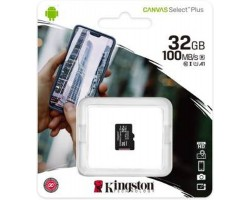 Карта памяти microSDHC, 32Gb, Class10 UHS-1 А1, Kingston Canvas Select Plus R-100MB/ s, без адаптера (SDCS2/ 32GBSP)